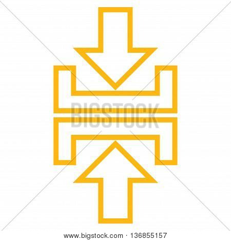 Pressure Arrows Vertical vector icon. Style is stroke icon symbol, yellow color, white background.