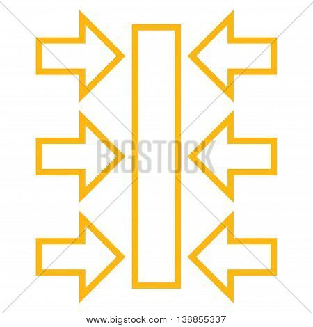 Pressure Horizontal vector icon. Style is thin line icon symbol, yellow color, white background.