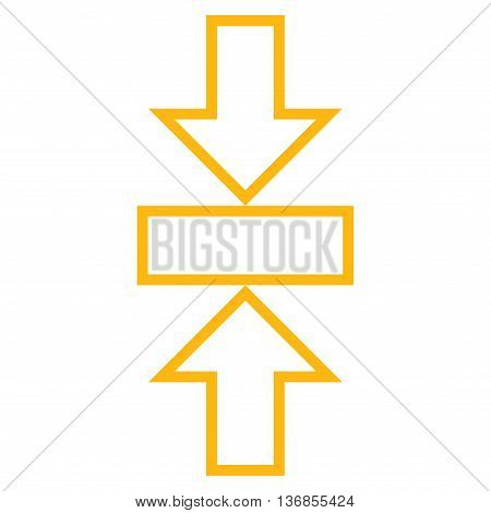 Pressure Vertical vector icon. Style is stroke icon symbol, yellow color, white background.