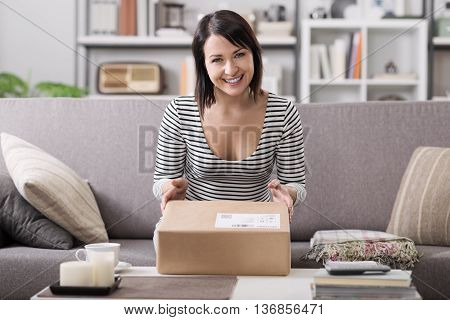 Woman Receiving A Parcel