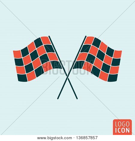 Racing flags icon. Start or finish symbol. Vector illustration poster