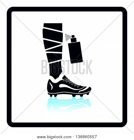 Icon Of Football Bandaged Leg With Aerosol Anesthetic
