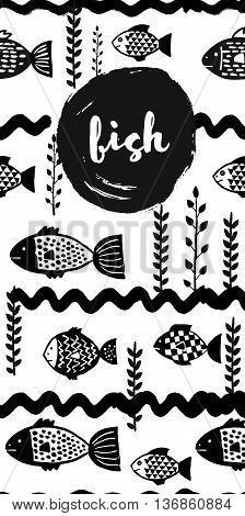 Fsh restaurant menu concept design. Corporate identity. Vector black and white unusual banners in ink