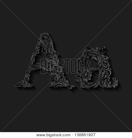 Handsomely decorated letter A in upper and lower case on black