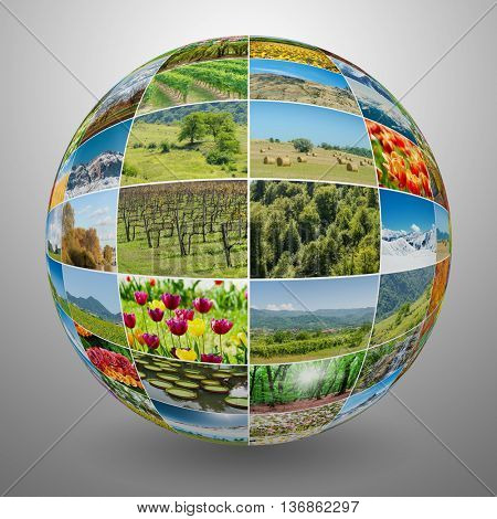 Collection of nature photos in collage concept