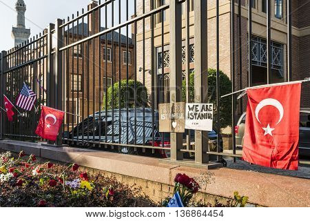 Washington D.C., USA - June 29, 2016: Flowers and posters at Turkish Embassy to honor lives lost in Istanbul bombings of June 28, 2016