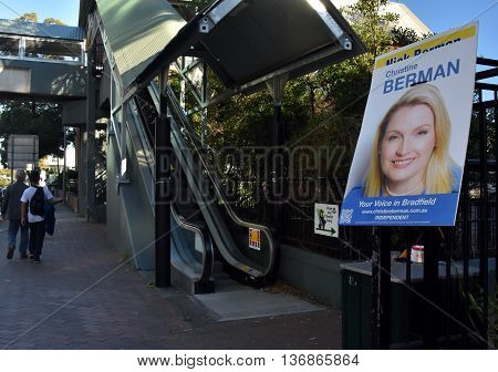 Sydney Australia - July 2 2016. Poster of the independent candidate Christine Berman in Chatswood. Australian Federal Elections 2016.