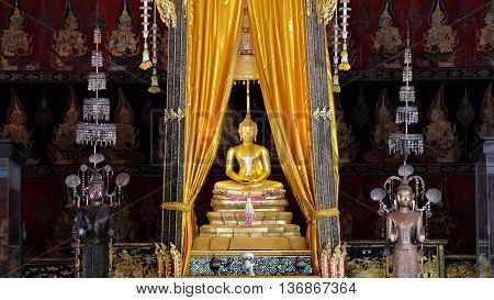 Bangkok Thailand MARCH 9 2016 : Sihing Buddha in Phuttaisawan palace pranakron musium Bangkok Thailand Buddha is a very important of Thailand. Enshrined in the National Museum.Taken out to pay homage to the songkran festival.