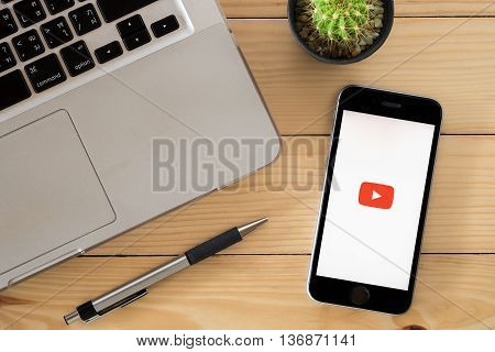 CHIANGMAI THAILAND -JUNE 12 2016:Iphone 6s open youtube app.Youtube is the popular online video sharing website.