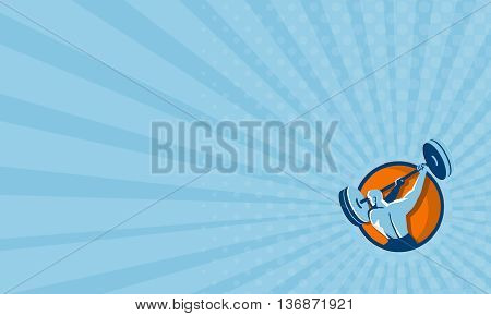 Business card showing illustration of a weightlifter lifting swinging barbell looking to the side viewed from the back set inside circle on isolated background done in retro style.