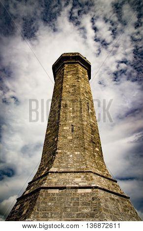 Stone monument high on a Dorset hillside