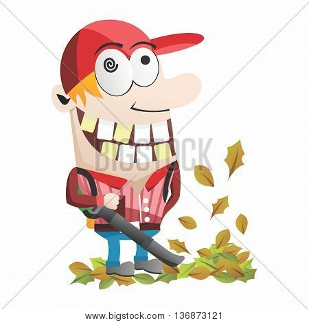 Vector Funny Cartoon Gardner, Backpack Leaf Blower cleaning up autumn falling leaves