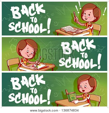 Three horizontal banners with schoolgirl. Back to school! Vector template flayer isolated on a white background.