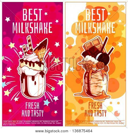 Two vertical orientation flyers for milkshakes. Best giant milk cocktail in jar. Vector template flayer isolated on a white background.