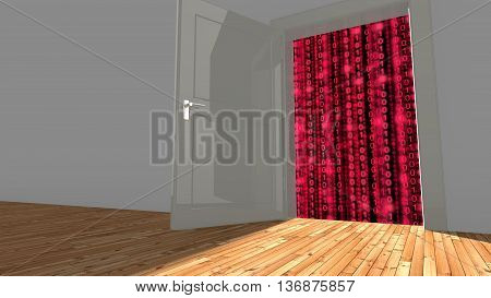 Open backdoor in a wall leading to digital red datastreams concept 3D illustration