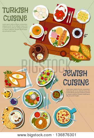 Festive dishes of jewish and turkish cuisine symbol with kebabs and pilaf, hummus with olives and matzah, falafels, vegetable and chickpea salads, dumplings and open pies, lentil soup and cholent stew, turkish coffee with baklava and lokum. Flat style