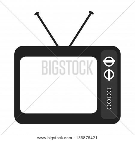 black and white old television device over isolated background, vector illustration