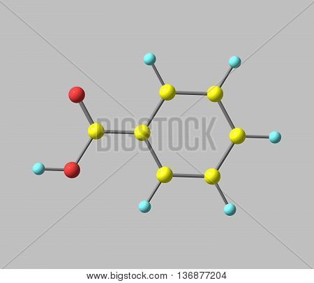 Benzoic acid C7H6O2 is a colorless crystalline solid and a simple aromatic carboxylic acid. 3d illustration poster