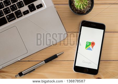 CHIANGMAI THAILAND -JUNE 192016:Iphone 6s open Google map app.Google map is a web mapping service application and technology provided by Google.