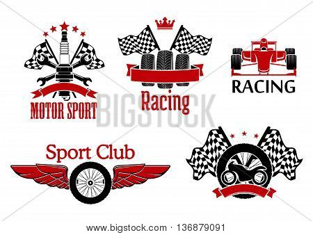 Winged wheel, tires with racing flags and motorcycle, open wheel race car and spark plug with crossed spanners and flags on the background symbols for motorsport theme design supplemented with ribbon banners, crown and stars