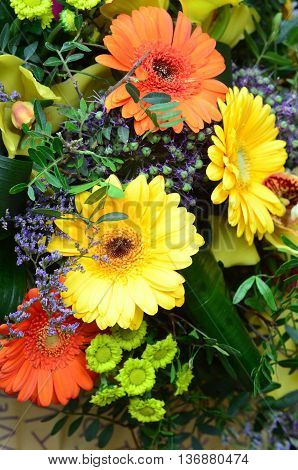 Bunch of flowers. Flower background, amazing fresh flowers, gerbera flower background