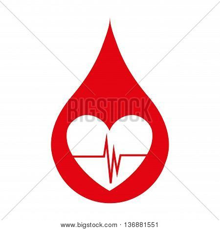 Blood drop icon, blood donation and transfusion theme design, vector illustration.