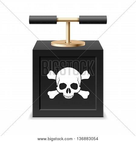 Black detonating fuse with a skull and crossbones
