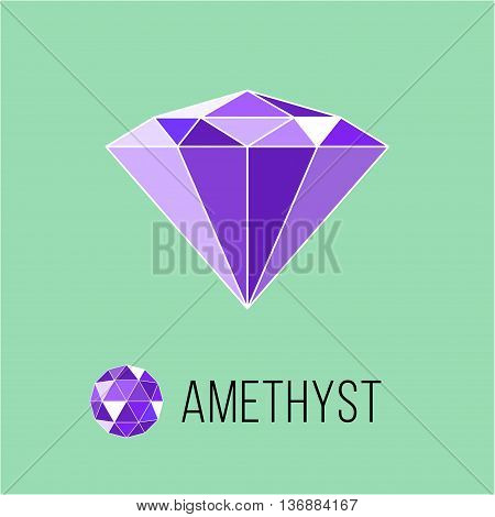 Amethyst flat icon with top view. Rich luxury symbol. Stock vector illustration