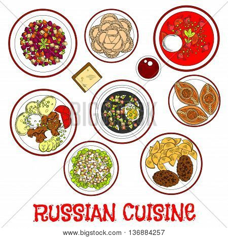 National dishes of russian cuisine for dinner menu icon with borscht and cold soup with rye bread kvass, beef stroganoff and cutlets with potatoes, meat and vegetable salads, dumplings and meat pies piroshki with fruity drink kompot. Sketch style