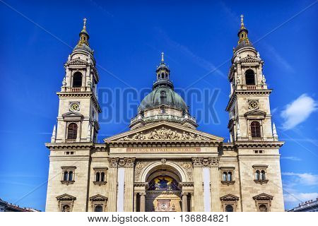 Saint Stephens Cathedral Budapest Hungary. Saint Stephens named after King Stephens who brought Christianity to Hungary. Cathedral built in the 1800s and consecrated in 1905. Statement in Latin reads I am the Way the Truth and the Light.