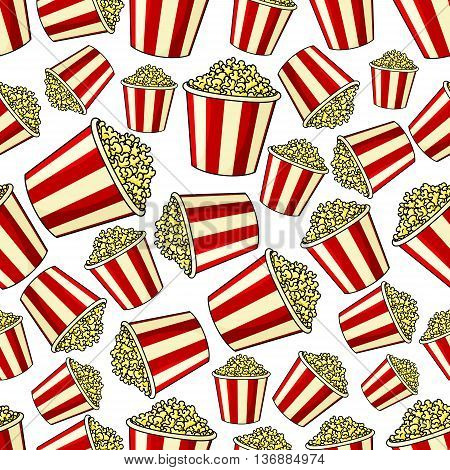 Weekend cinema and entertainment background with cartoon popcorn seamless pattern of traditional takeaway buckets with red and white stripes filled by sweet caramel popcorn