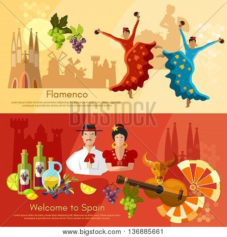 Spain banners traditions and culture spanish attractions vector illustration