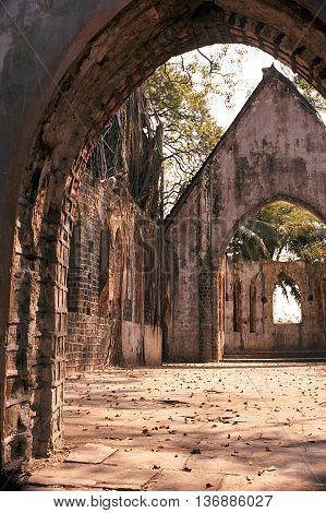Interior of forlorn church without roof at Ross Island near Port Blair Andaman India Asia