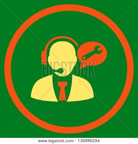 Service Manager Message vector bicolor icon. Image style is a flat icon symbol inside a circle, orange and yellow colors, green background.