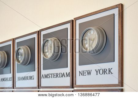 Clock Different Time Zones On The Wall
