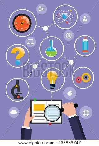 Hand with magnifier. Open book eduction flat design concept. Vector illustration.