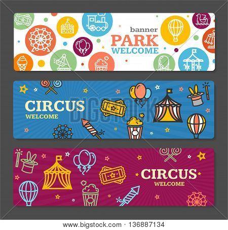 Circus Amusement Park Banner Card Tickets Horizontal Set on Grey Background. Vector illustration