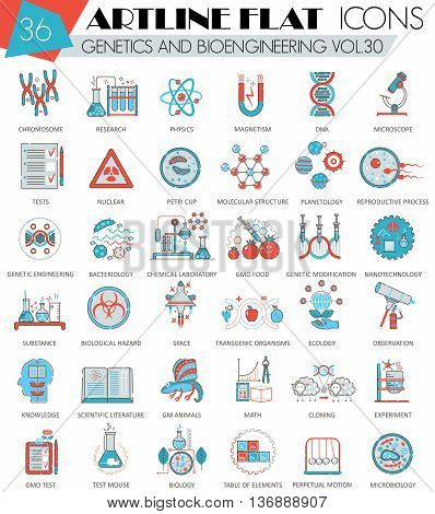 Vector Genetics and bioengineering ultra modern outline artline flat line icons for web and apps