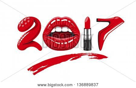 2017 year. woman things. Red glossy lips of open mouth, makeup lipstick, high heels shoes. illustration