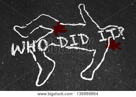 Who Did It Murder Crime Scene Suspect Chalk Outline Illustration