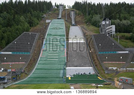 LILLEHAMMER, NORWAY - CIRCA JUNE 2016: Winter Olympic Games Ski Jumping Springboard in Lillehammer, Norway.