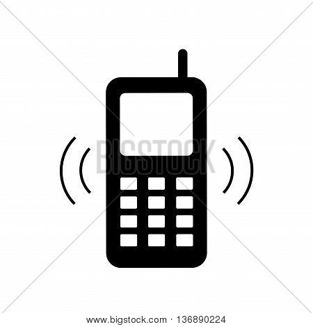 Phone sign. Telephone icon great for any use. Cell phone image. Flat design style. Monochrome icon isolated on white background. Stock Vector illustration