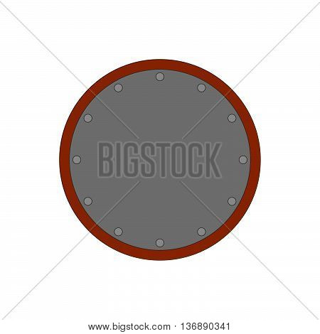 Sign shield silver. Protection icon isolated on white background. Flat mark. Symbol of a steel guard. Color element. Round logo for military and security. Stock vector illustration