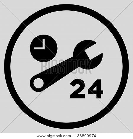 Nonstop Service Hours vector icon. Image style is a flat icon symbol inside a circle, black color, light gray background.