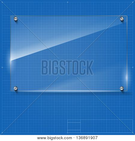 Vector glass frame with steel rivets. Glass framework. Transparent glass frame on the blueprint background.