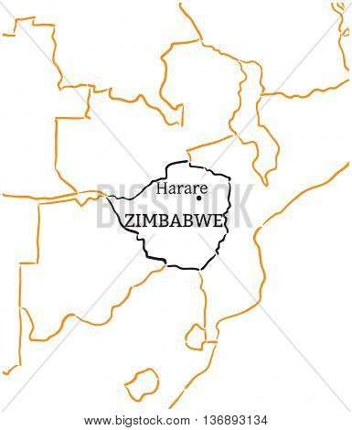Zimbabwe country with its capital Harare in Africa hand-drawn sketch map isolated on white