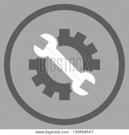 System Preferences vector bicolor icon. Image style is a flat icon symbol inside a circle, dark gray and white colors, silver background.