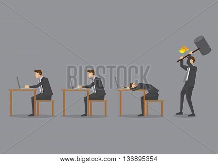Office scene with business executives working at desk and an angry supervisor holding a huge hammer ready to hit a slacker. Conceptual vector illustration isolated on grey background.