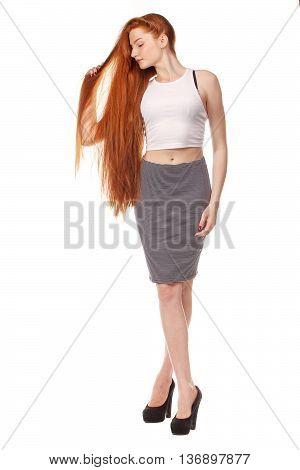 Beauty Girl Portrait. Healthy Long Red Hair.