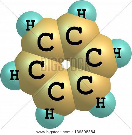 Benzene is an organic chemical compound. Its molecule is composed of 6 carbon atoms joined in a ring with 1 hydrogen atom attached to each carbon atom 3d illustration